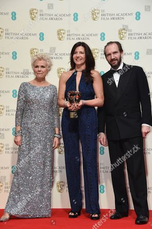Stock Photo of Christine Langan (C) accepts award for Outstanding British Contribution to Cinema won by BBC Films, with Julie Walters and Ralph Fiennes