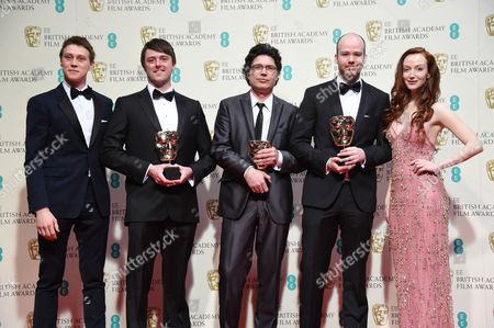 George MacKay, Brian J. Falconer, Michael Lennox, Ronan Blaney and Olivia Grant, winners of the Best British Short Film award for the movie 'Boogaloo And Graham'