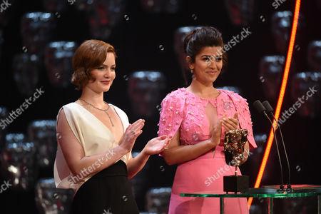 Holliday Grainger and Nimrat Kaur presenting the Award for Original Music
