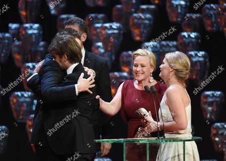 Stock Picture of Ellar Coltrane, Patricia Arquette and Cathleen Sutherland - Winner of the Best Film Award - Boyhood
