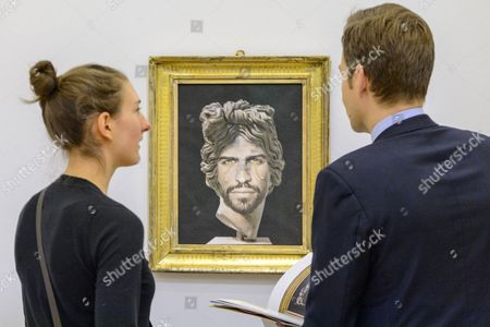 Painting titled Portrait of Gerard Pique as Apollo del Belvedere (2014) by artist Francesco Vezzoli with an estimate of £30,000-40,000