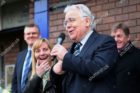 Hillsborough campaigner Margaret Aspinall laughs as Everton Chairman Bill Kenwright addresses the crowds at the unveiling of an Everton memorial to the victims of the Hillsborough Stadium Disaster