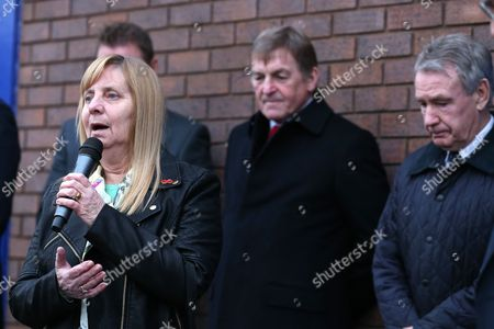 Hillsborough campaigner Margaret Aspinall  addresses the crowds at the unveiling of an Everton memorial to the victims of the Hillsborough Stadium Disaster