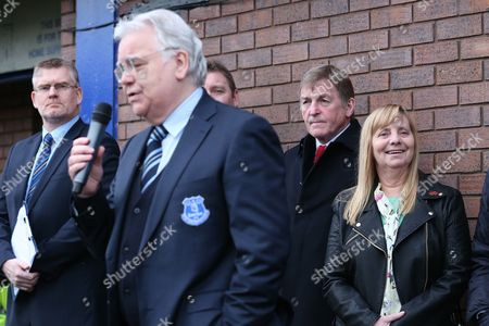 Kenny Dalglish and Margaret Aspinall look on as Bill Kenwright speaks at the unveiling of the Everton plaque dedicated to the 96 Liverpool fans who lost their lives at the Hillsborough tragedy