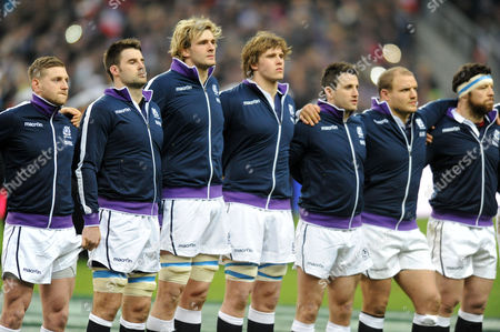 Scotland players lin eup fo rthe national anthems (L to R) Finn Russell, Johnnie Beattie, Richie Gray, Jonny Gray, Tommy Seymour.
