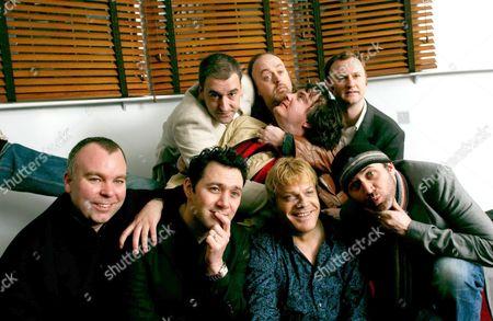 Top row - Dylan Moran (lying across), Boothby Graffoe, Bill Bailey, Mark Gatiss. Bottom row - Steve Pemberton, Reece Shearsmith, Eddie Izzard and Tommy Tiernan