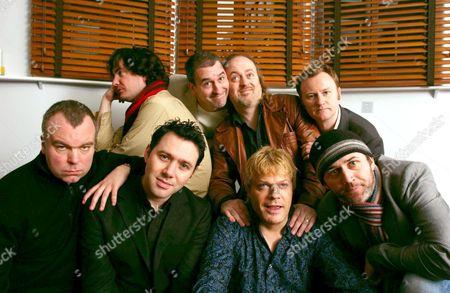 Top row - Dylan Moran, Boothby Graffoe, Bill Bailey, Mark Gatiss. Bottom row - Steve Pemberton, Reece Shearsmith, Eddie Izzard and Tommy Tiernan
