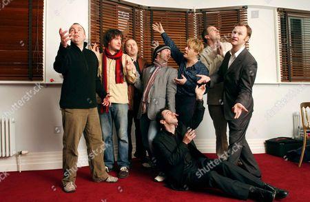 Left to right - Steve Pemberton, Dylan Moran, Bill Bailey, Tommy Tiernan, Eddie Izzard, Boothby Grafoe and Mark Gatiss with Reece Shearsmith on floor