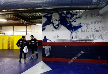 Artwork of former Bolton Wanderers player Nicolas Anelka inside the Macron Stadium