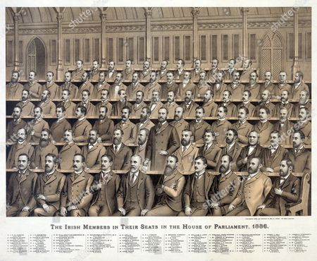 Irish members in their seats in the House of Parliament, 1886 from back to front, 1. Alexander Blane, 2. J.D. Sheehan, 3. Sir Joseph N. M'Kenna, 4. Donal Sullivan, 5. Patrick O'Hea, 6. Dr. Fox, 7. Joseph Nolan, 8. Edw. Harrington, 9. J.F. Smithwick, 10. William O'Brien, 11. E. Mulhallen Marum, 12. Thomas O'Hanlon, 13. James Leahy, 14. P.J. Foley, 15. J.F.X. O'Brien, 16. J.L. Carew, 17. John Finucane, 18. J. O'Connor, Lord Mayor, 19. Dr. Andrew Commins, 20. Edward Shiel, 21. James E. O'Doherty, 22. Michael Conway, 23. P. M'Donald, 24. Laurence Connolly, 25. Henry J. Gill, 26. Kevin Izod O'Doherty, M.D., 27. Bernard Kelly, 28. John Stack, 29. Luke Hayden, 30. John Deasy, 31. Jas. Gilhooly, 32. David Sheehy, 33. D. Crilly, 34. J.R. Cox, 35. Bernard C. Molloy, 36. Jasper D. Pyne, 37. Matthew Harris, 38. Colonel J.P. Nolan, 39. Richard Power, 40. Jeremiah Jordon, 41. W.J. Reynolds, 42. M.J. Kenny, 43. William Corbett, 44. P.J. Power, 45. Garrett Byrne, 46. Edmond Leamy, 47. Thomas Mayne, 48. Charles Tanner, M.D., 49. J.E. Redmond, 50. Henry Campbell, 51. James C. Flynn, 52. John Barry, 53. Charles Stewart Parnell, standing at center, 54. W.M. Murphy, 55. John O'Connor, 56. P.J. O'Brien, 57. P.A. Chance, 58. Thomas P. Gill, 59. Thomas Condon, 60. James Tuite, 61. William J. Lane, 62. Richard Lalor, 63. James J. O'Kelly, 64. John J. Clancy, 65. William Abraham, 66. Justin M'Carthy, 67. Thomas Sexton, 68. William H.K. Redmond, 69. J.F. Small, 70. Joseph G. Biggar, 71. T.P. O'Connor, 72. Timothy M. Healy, 73. John Dillon, 74. Alderman John Hooper, 75. Arthur O'Connor, 76. Sir Thos. Grattan Esmonde, Bt., 77. Joseph E. Kenny, M.D., 78. T.D. Sullivan, 79. J.H. M'Carthy, 80. T. Harrington, 81. Edmund Dwyer Gray, 82. Maurice Healy.