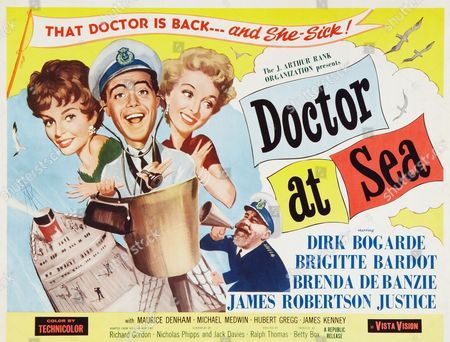 Doctor at Sea. A 1955 British comedy film, directed by Ralph Thomas, produced by Betty E. Box, and based on Richard Gordon's novel. It was the second of seven films in the Doctor series. Dirk Bogarde played the lead character Dr Simon Sparrow. The cast also includes James Robertson Justice and Joan Sims..