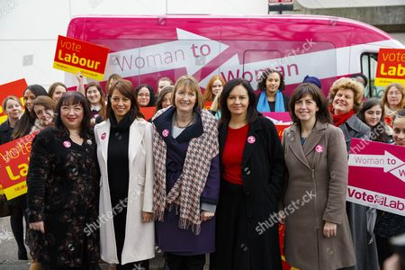 """Sharon Hodgson MP, Gloria de Piero MP, Harriet Harman MP, Caroline Flint MP and Lucy Powell MP launch Labour's general election women's campaign in Stevenage as senior Labour figures promise to tour the country in a pink bus to """"reach out to women"""" ahead of the election and create a """"Domesday Book"""" of women's electoral wishes."""