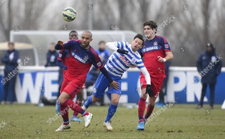 Mauro Zarate of QPR, Chris Ritter of Chicago Fire and Danny Gabbidon of Chicago Fire