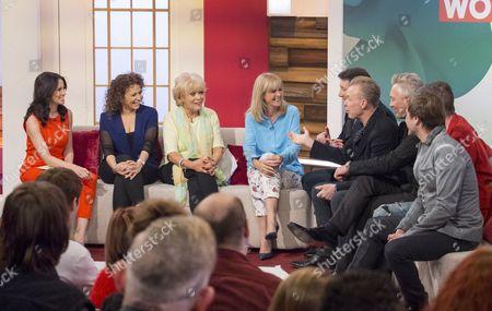 Andrea McLean, Nadia Sawalha, Sherrie Hewson and Jane Moore with Spandau Ballet - Tony Hadley, Gary Kemp, Martin Kemp, John Keeble and Steve Norman