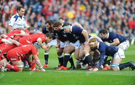 Stock Photo of Scotland forwards (L to R) Geoff Cross, Ross Ford, Alasdair Dickinson, RobHarley and Johnnie Beattie