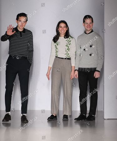 Stock Image of Matthew Orley, Samantha Florence and Alex Orley on the catwalk