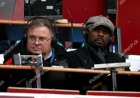 Former footballer Jason Roberts (right) working for BBC five live radio alongside Alan Green