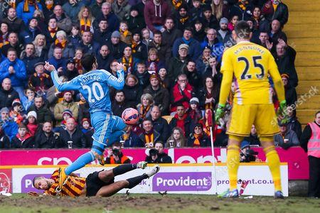 Sunderland's Ricky Alvarez is tackled by Bradford City's James Meredith