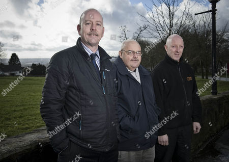Stock Photo of Mark Turner (r) With Syndicate Members Paul Aspinall (c) And Paul Hodgkinson (l) Daily Mail Racing Betting Winner.