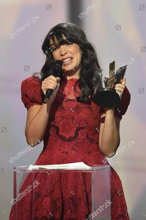 Stock Picture of Adila Sedraia aka Indila receives the best newcomer album award for the album 'Mini World'