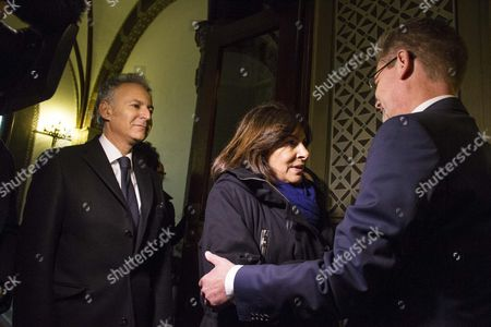 French ambassador in Denmark Francois Zimeray, Mayor of Paris Anne Hidalgo and the Mayor of Copenhagen, Frank Jensen