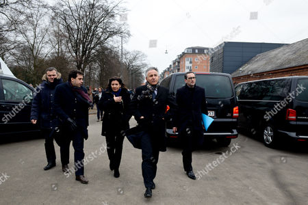 Paris Mayor Anne Hidalgo, Deputy Mayor Patrick Klugman, Charlie Hebdo journalist Patrick Pelloux, Francois Zimeray ambassador of France in Denmark and Chief Rabbi Moise Lewin arrived to pay his respects to the victims of a terrorist attack at the cultural center Krudtoenden