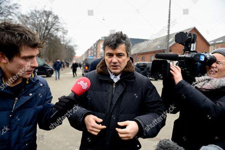 Charlie Hebdo journalist Patrick Pelloux speaks to the press outside Krudttonden cultural center