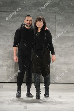 Stock Image of Designers Nicholas Kunz and Christopher Kunz on the catwalk