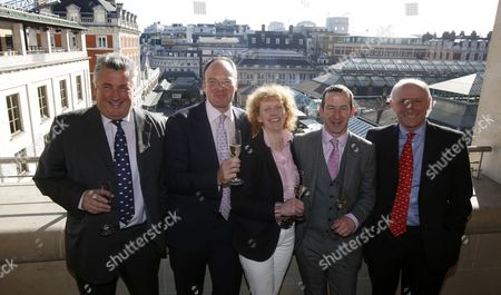 Trainers Dr Richard Newland with Paul Nichols Lucinda Russell Jim Culloty and Oliver Sherwood at The Royal Opera House for The Grand National Weights Lunch. Grand National weights