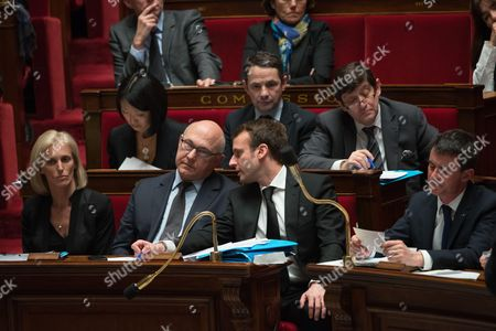 French Junior Minister in charge of Disabled People and the Fight Segolene Neuville, French Minister for Finance, Michel Sapin, French Economy minister, Emmanuel Macron and Manuel Valls