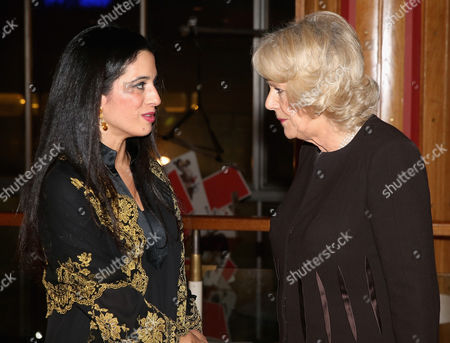 Camilla, Camilla Duchess of Cornwall chats to Princess Badiya bint El Hassan of Jordan as she attends a reception in support of The Women Of The World Festival 2015 at Southbank Centre