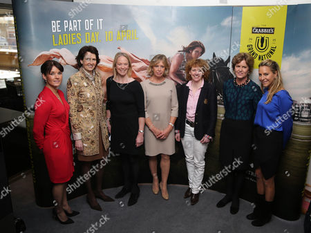 The Ladies Katie Walsh, Venetia Williams, Sara Hobbs, Judy Halewood, Lucinda Russell, Rose Patterson and Emma Spencer at the Crabbies Grand National Weights lunch at the Royal Opera House, London