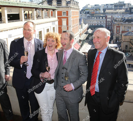 Trainers Dr Richard Newlands, Lucinda Russell, Jim Culloty and Oliver Sherwood at the Crabbies Grand National Weights lunch at the Royal Opera House, London