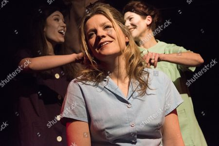How I Learned to Drive, by Paula Vogel, directed by Jack Sain, at Southwark Playhouse. Bryony Corrigan (Teenage Greek Chorus), Joshua Miles (Male Greek Chorus), Olivia Poulet (LI'L BIT) and Holly Hayes (Female Greek Chorus).