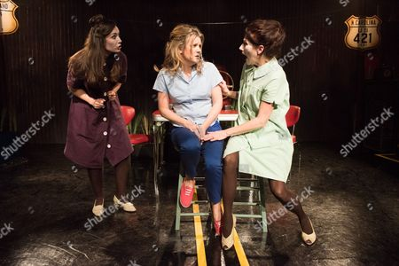 How I Learned to Drive, by Paula Vogel, directed by Jack Sain, at Southwark Playhouse. Bryony Corrigan (Teenage Greek Chorus), Olivia Poulet (LI'L BIT) and Holly Hayes (Female Greek Chorus).