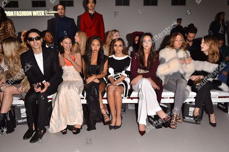 Nat and Leah Weller, Jade Thirlwall, Roxie Nafousi, Millie Mackintosh, Rosie Fortescue, Front Row