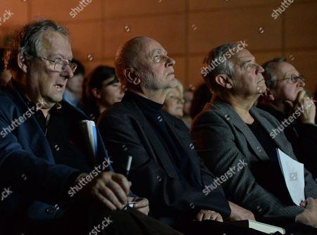 Stock Picture of Adam Michnik, Adam Zagajewski, Marek Kondrat and Bronislaw Maj