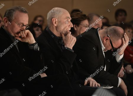 (L-R) Bronislaw Maj, Ryszard Krynicki and Marcin Baran