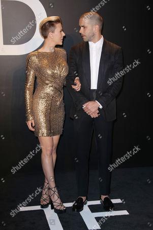 Stock Photo of Scarlett Johansson and husband Romain Dauriac