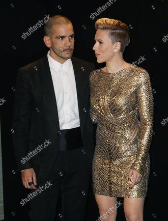 Stock Picture of Scarlett Johansson and husband Romain Dauriac