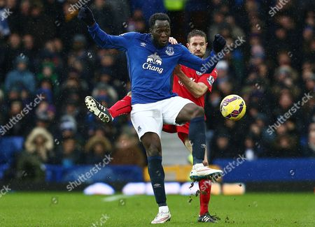 Romelu Lukaku of Everton and Matthew Upson of Leicester City
