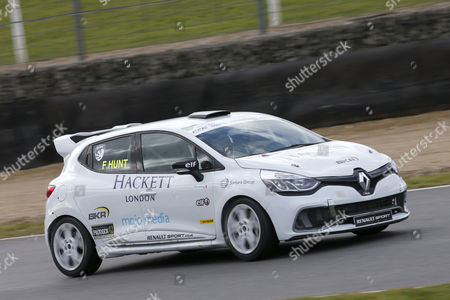 Freddie Hunt, son of late Formula 1 champion Champion James Hunt, in a Renault Clio Cup car.