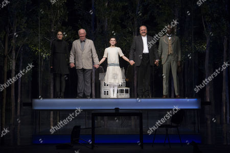 Amanda Hale (Morris), David Calder (Doyle), Isabella Pappas (Iris), Stanley Townsend (Sims) and Ivanno Jeremiah (Woodnut) during the curtain call on Press Night for The Nether at the Duke of York's Theatre, London, England on 23rd February 2015. (Credit should read: Dan Wooller/wooller.com). Paid use only. No Syndication