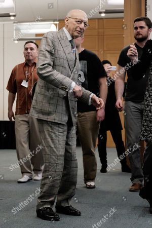 Sir Gerald Kaufman (MP and chair of the All-Party Parliamentary Dance Group), learning some basic steps