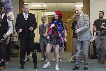 MPs Chris Heaton-Harris and Sir Gerald Kaufman dance with members of Dance UK