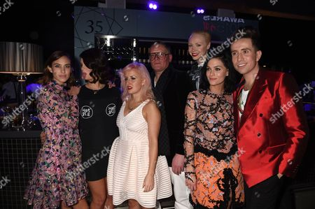 Alexa Chung, Pixie Geldof, Aimee Phillips, Giles Deacon, Gwendoline Christie, Leigh Lezark and Nick Grimshaw