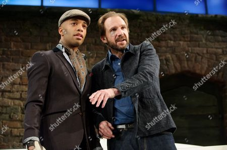 Elliot Barnes-Worrell (Straker) and Ralph Fiennes (Jack Tanner)