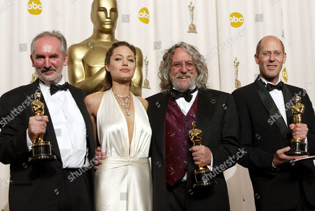 Winners Grant Major, Dan Hennah, Alan Lee with Angelina Jolie