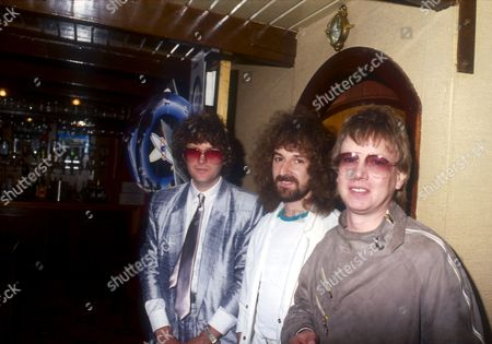 Stock Picture of Barclay James Harvest - John Lees, Les Holroyd and Mel Pritchard, London, Polydor Records Boat Trip, London, Britain