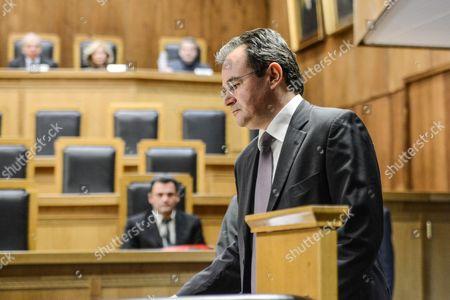 Stock Image of Former Greek finance minister Giorgos Papakonstantinou arriving at court